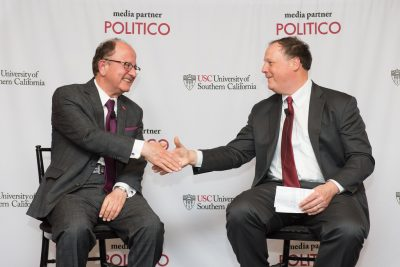 USC President C. L. Max Nikias joins POLITICO co-founder and Editor-in-Chief John Harris for a discussion of college access. (Photo/Dave Scavone)
