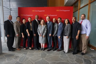President C. L. Max Nikias joins East LA Community leaders at USC's Business of Biotech Summit.