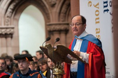 C. L. Max Nikias, President of University of Southern California, receives an honorary degree from University of Strathclyde; June 23rd, 2017. (Photo/Courtesy of Graeme Fleming)