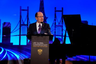 USC President C. L. Max Nikias speaks at the welcome dinner for the 2017 USC Global Conference in Tokyo. (USC Photo/Staff)